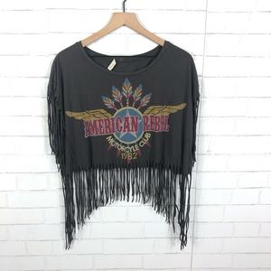 Forever 21 American Rebel Graphic Fringe Crop Tee